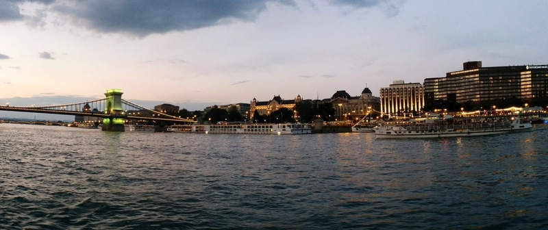 Not night yet, but getting dark in Budapest