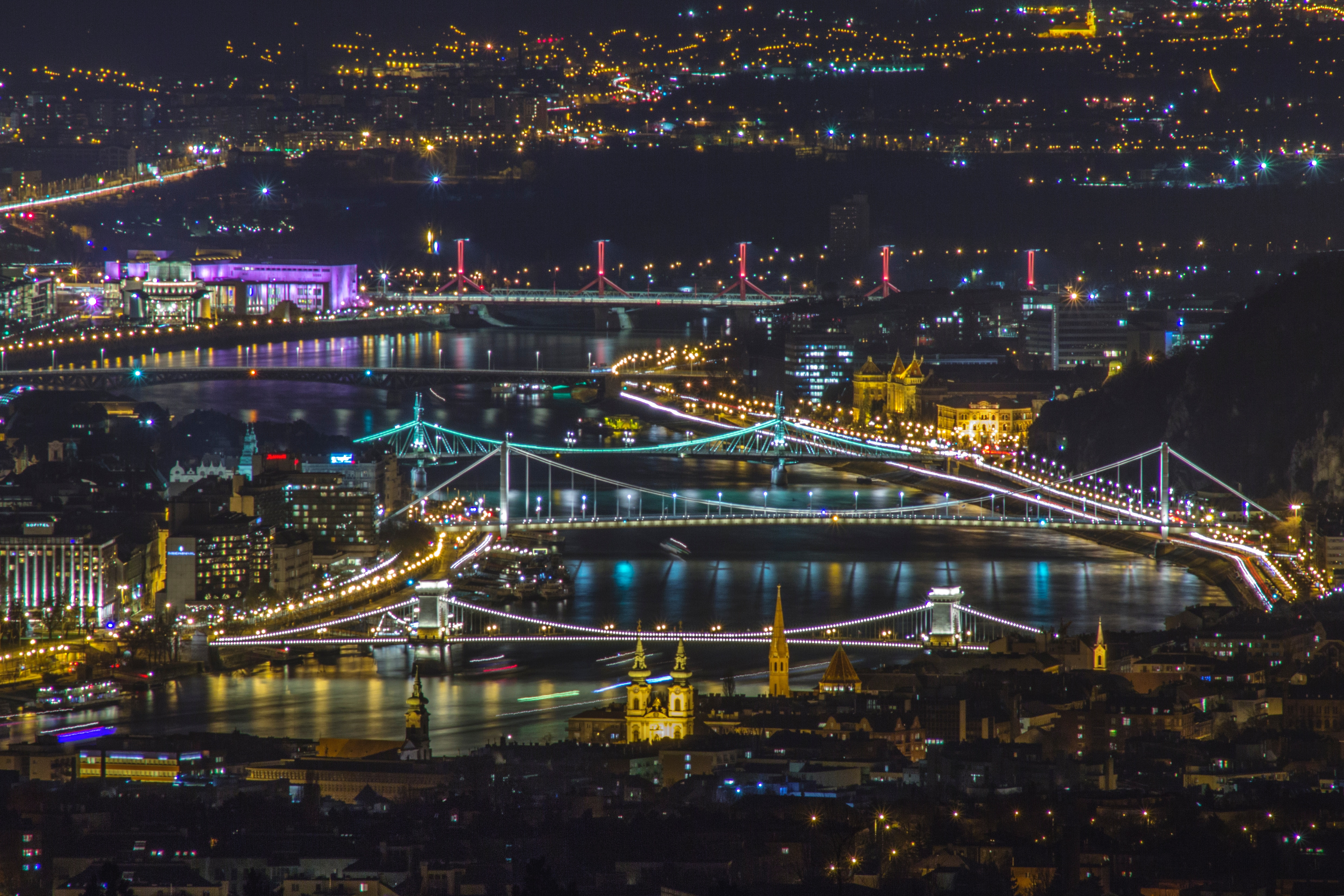 Budapest by night from a drone