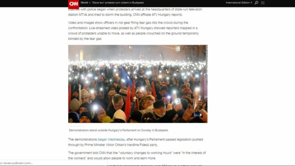CNN coverage of the demonstrations in Budapest