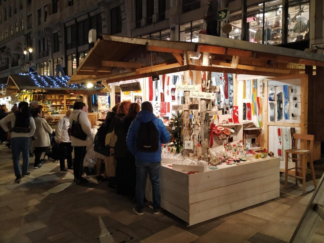 Shopping at the Christmas market in budapest