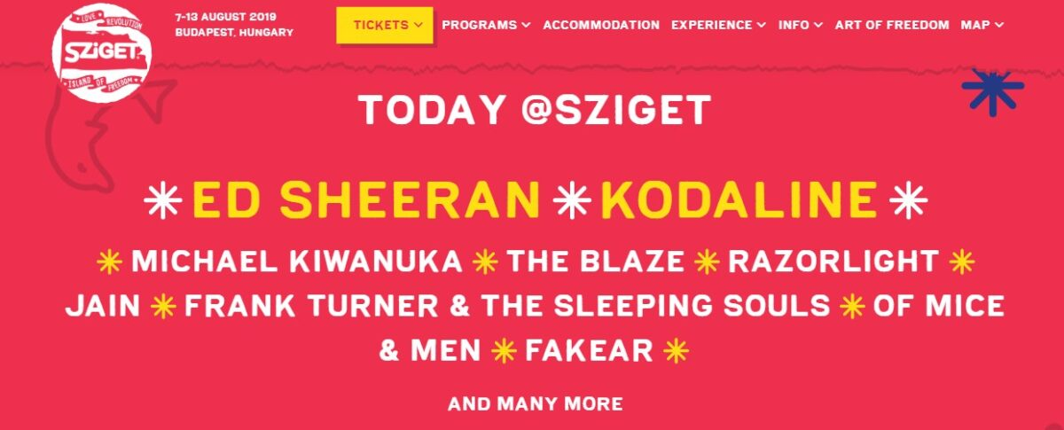 Some of the artists performing at Sziget Festival today (August 7th, 2019)