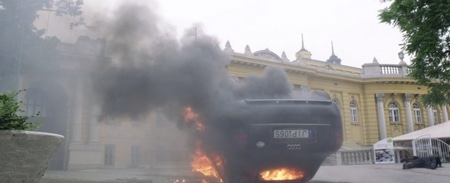 Explosion in front of Szechenyi Furdo