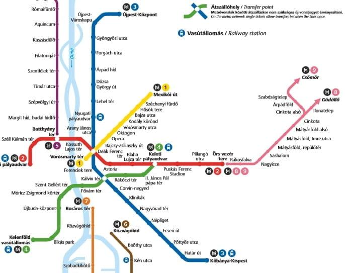 Budapestin metro ja bussit lentokentälle