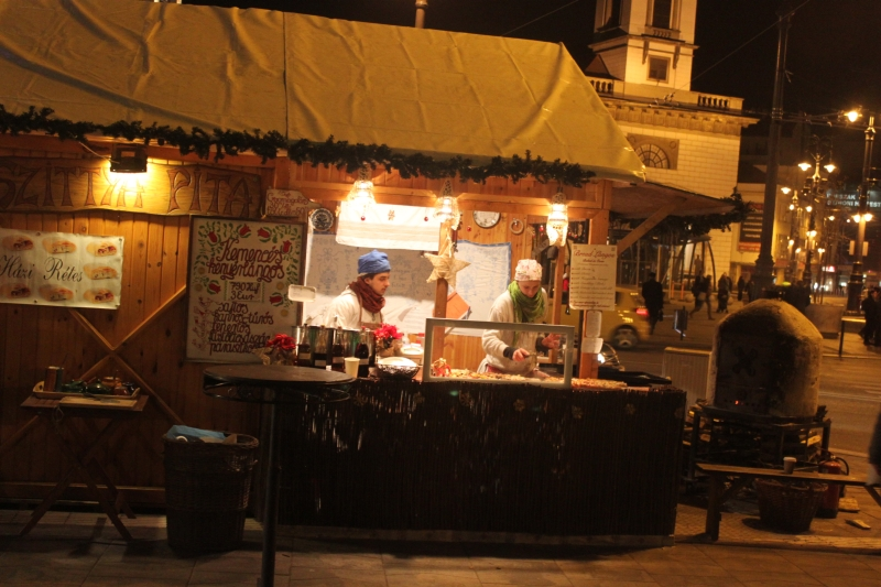 Delicious food at christmas markets in Budapest