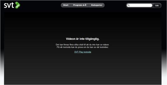 Error message on SVT.se