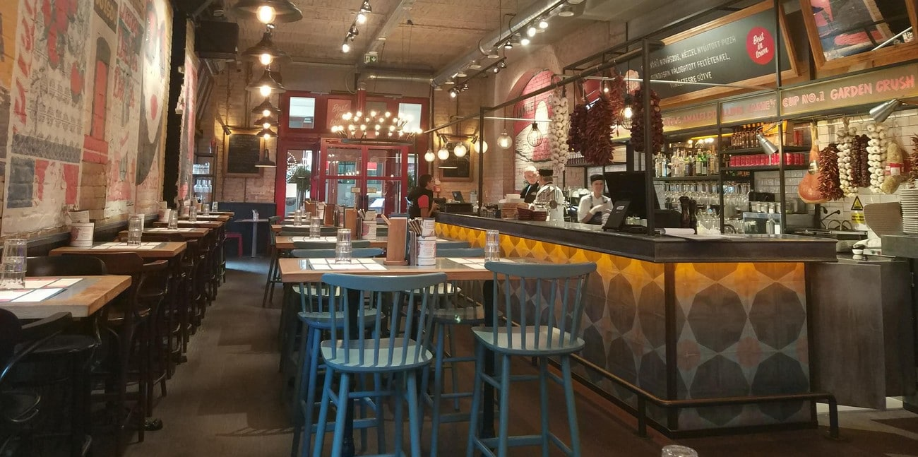 The interior of Jamie Oliver's Pizzeria in Budapest