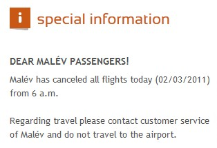 Malev cancelling all flights today