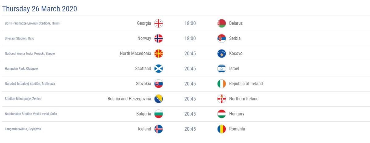 The first play-off matches for Euro 2020