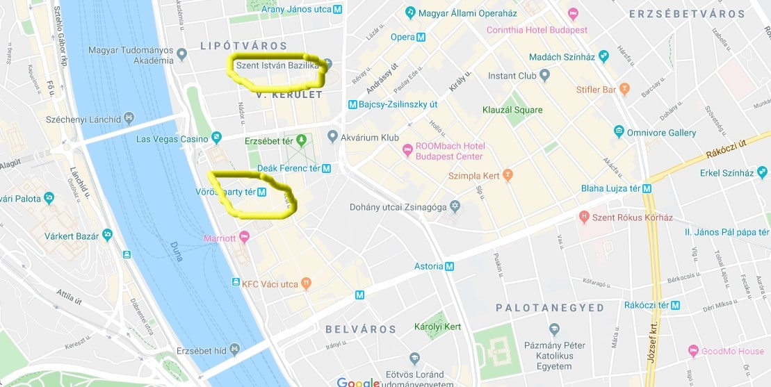 Map showing the two biggest Christmas markets in budapest