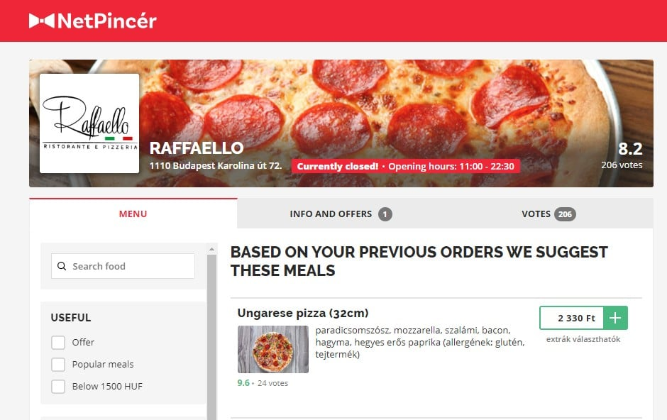 Ordering pizza to your house in Budapest