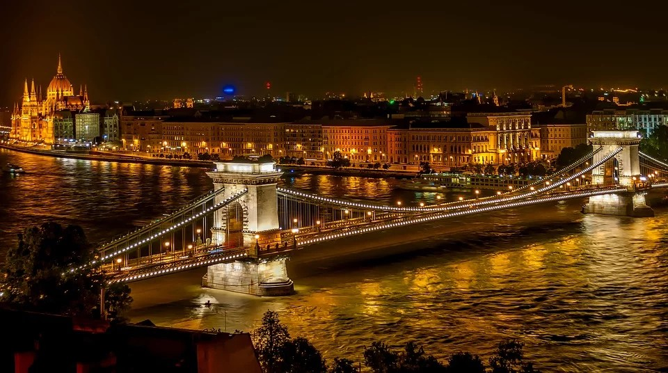 Dinner at a river cruise in Budapest